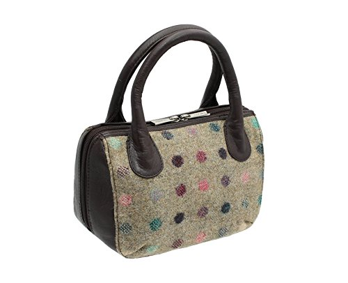 Bag Abertweed Leather Mala Spot 40 And Navy Brown 7101 Collection Tweed Grab SBRSTWqFA