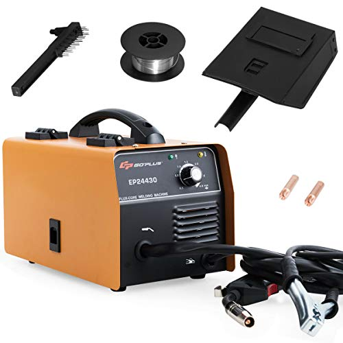 Goplus MIG Welder, Portable No Gas Flux Core Wire 130 MIG Welding Machine Automatic Feed w/Free Mask and Portable Handle, Synergic Adjustment Function, IGBT Inverter Welding Equipment (Orange)