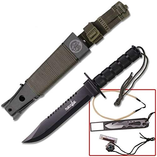 - Survivor HK-56141B Fixed Blade Survival Knife, Black Sawback Blade, Black Handle, 14-1/4-Inch Overall