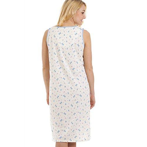 Camisón de manga corta - Mezcla de algodón - Estampado floral azul y lila BLANCO