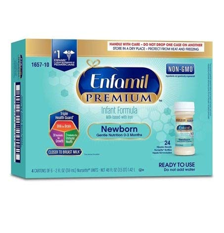 Enfamil PREMIUM Newborn Infant Formula 20 Calorie - Non-GMO - Ready to Use Nursette Bottles, 2 fl oz (24 count) by Enfamil
