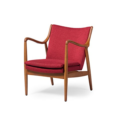Baxton Studio Wholesale Interiors Shakespeare Mid-Century Modern Retro Fabric Upholstered Leisure Accent Chair in Pine Brown Wood Frame, Large, Red For Sale