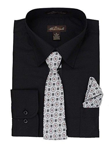 Alberto Danelli Men's Long Sleeve Dress Shirt with Matching Tie and Handkerchief, XXLarge / 18-18.5 Neck -35/36 Sleeve, Black