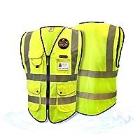 KwikSafety PARAMOUNT | Class 2 Safety Vest | 360° High Visibility Reflective ANSI Compliant OSHA Approved Work Wear | Hi Vis Fishbone 9 Pockets Heavy Duty Zipper | Men & Women Regular to Oversized Fit