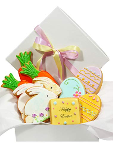 Easter Day Cookie Gift Basket 10 Pastel Decorated Cookies Bunny Eggs Carrots for Men Women Boys Girls Boyfriend Girlfriend Prime Delivery by Custom Cookies (Image #4)