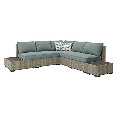 Ashley Furniture Signature Design - Silent Brook 3-Piece Outdoor Seating Set - Sofa, Loveseat Sectional & 2 End Tables - Beige & Blue - OUTDOOR SECTIONAL: Elevate your outdoor space while also staying stylish and carefree. This set's soothing sage cushions and versatile design make for a charming seat by the fire pit DURABLE DESIGN: Made with an all-weather resin wicker cover over a rust proof aluminum frame. Zippered cushions are covered in high-performing Nuvella polyester. Includes 2 throw pillows MODULAR DESIGN: Thanks to the modular, armless design, you have the freedom to arrange all the pieces to best fit your decor on your patio, balcony or screened in porch - patio-furniture, patio, conversation-sets - 41 OSeyOn4L. SS400  -