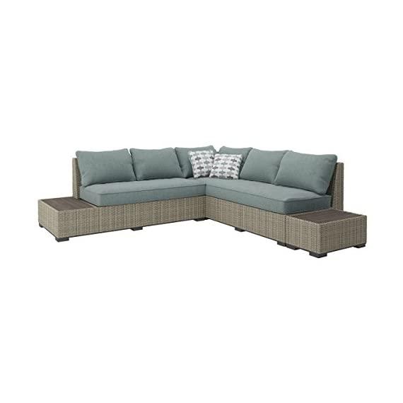 Ashley Furniture Signature Design - Silent Brook 3-Piece Outdoor Seating Set - Sofa, Loveseat Sectional & 2 End Tables - Beige & Blue - OUTDOOR SECTIONAL: Elevate your outdoor space while also staying stylish and carefree. This set's soothing sage cushions and versatile design make for a charming seat by the fire pit DURABLE DESIGN: Made with an all-weather resin wicker cover over a rust proof aluminum frame. Zippered cushions are covered in high-performing Nuvella polyester. Includes 2 throw pillows MODULAR DESIGN: Thanks to the modular, armless design, you have the freedom to arrange all the pieces to best fit your decor on your patio, balcony or screened in porch - patio-furniture, patio, conversation-sets - 41 OSeyOn4L. SS570  -