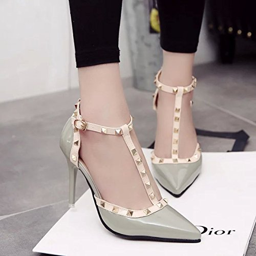 Yalanshop Talons En Chaussures Verni Hauts Gris Baotou Cuir Rivets Sandales 38 Avec prUqw5pxZ