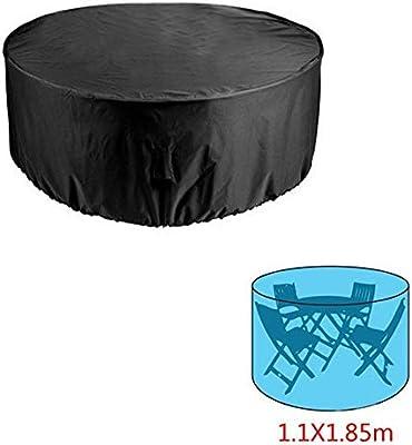 Happyshop - Juego de 18 Fundas Redondas para Mesa de Patio y Silla, Fundas para Muebles de Patio al Aire Libre para sillas de Mesa Redondas, Impermeables y antidecoloración: Amazon.es: Jardín