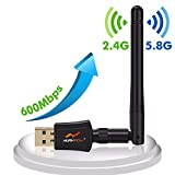 Wireless USB WiFi Adapter AC 600Mbps Dual Band Network dongle Long Range Wi-Fi Antennas for Desktop,Laptop/PC Support Windows XP/Vista/7/8/10 MAC OS Linux Drive free From Huryfox