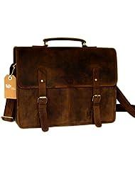 Leftover Studio Double Pocket Messenger Bag / Satchel / Briefcase /Shoulder Bag in Oil Pull Hunter Leather