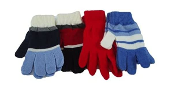 Four Pairs Stretch Microfiber Lined Magic Gloves for Men Women Teens