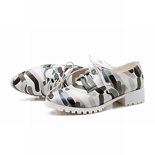 Carolbar Femmes Lace-up Camouflage Impression Populaire Mode Bas Talon Oxfords Chaussures Gris