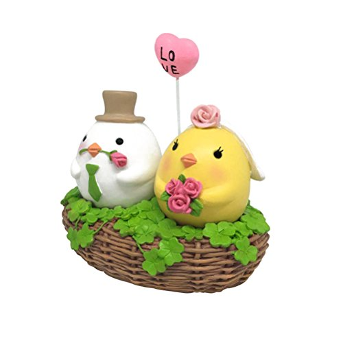 OULII Easter Decoration Ornament Resin Wedding Couple Figurine Cake Topper LOVE Chicken in Basket