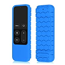 Fintie Protective Case for Apple TV 4K / 4th Gen Remote - Casebot [Honey Comb Series] Light Weight [Anti Slip] Shock Proof Silicone Cover for Apple TV 4K Siri Remote Controller, Blue