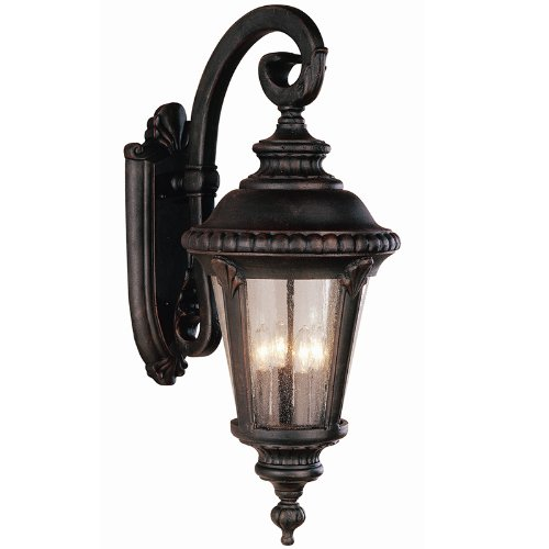 Trans Globe 5045 RT Estate - Four Light Outdoor Large Wall Bracket - Down, Rust Finish with Seeded Glass