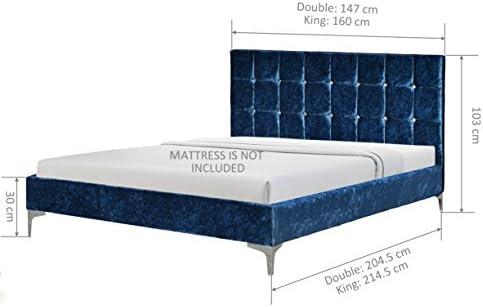 Brown Comfy Living 4ft6 Double Velvet Curved Bed Frame