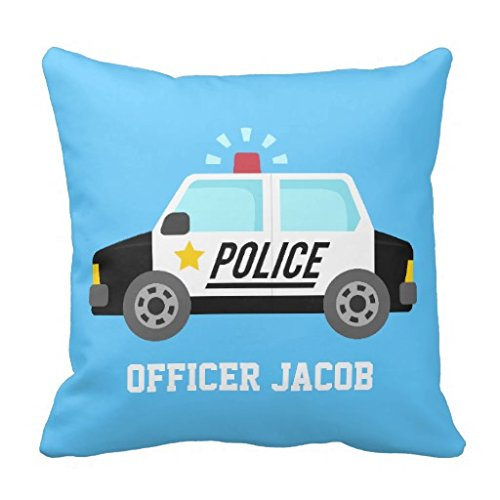 Price comparison product image Classic Police Car With Siren For Boys Room Pillow Case 16 x 16 Inches