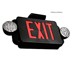 eTopLighting [2 Pack] LED Exit Sign, Emergency Light Red Lettering Combo with Extra Face Plate, UL924, Double Side Light, Ceiling / Wall Mount, AGG2159