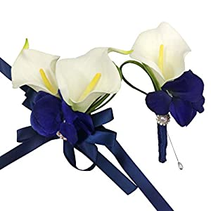 DALAMODA Artificial Flower Cala Lily Boutonniere and Corsage with Blue Ribbon-Cala Lily 4