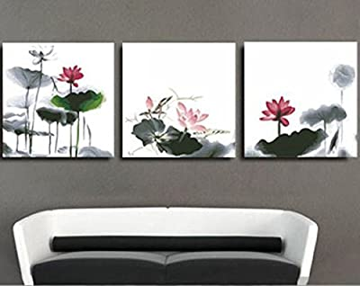 [ Wooden Framed or Not, New Release ] Diy Oil Painting by Numbers 3 Pieces Pack, Paint by Number Kits - Ink Lotus 16*16*3P inches - PBN Kit for Adults Girls Kids Christmas Gifts