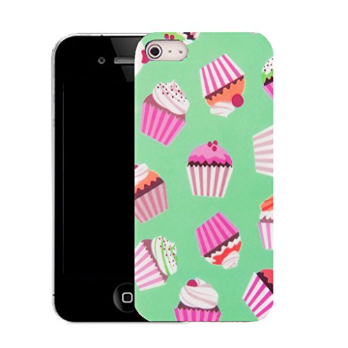 Mobile Case Mate iPhone 5c clip on Silicone Coque couverture case cover Pare-chocs + STYLET - green cupcake pattern (SILICON)