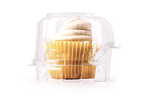 Individual Plastic Cupcake Boxes | Set of 48 Clear Plastic Dome Single Compartment Cupcake Holders With Improved Closing Mechanism … -