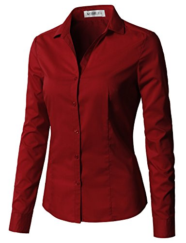 CLOVERY Women's Tailored Long Sleeve Slim Fit Button Down Shirt Burgundy S