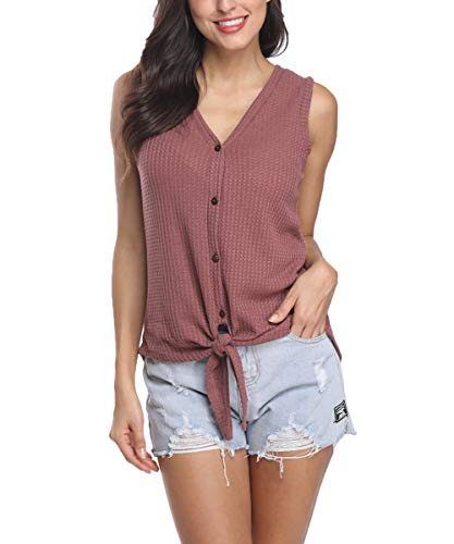 INWECH Womens Tie Front Button Down Shirts V Neck Waffle Knit Loose Casual Tunic Tank Top (Red 2, Large)