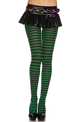 Music Legs Opaque Striped Tights Black/Hunter Green One Size Fits Most