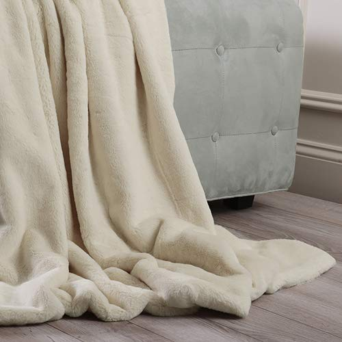 Price comparison product image Rose Street Luxe Faux Cream Fur Throw