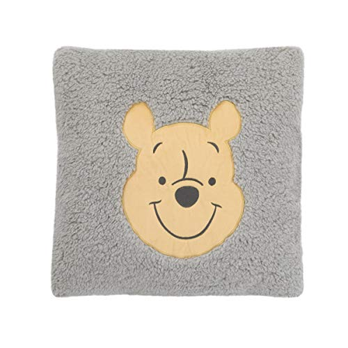 Disney Winnie The Pooh Grey and Yellow Plush Appliqued Decorative Sherpa Pillow, Grey, Yellow