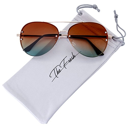The Fresh Oversize Rimless Double Crossbar Ocean Color Lens Aviator Sunglasses 61mm Gift Box (5-Gold, Brown/Green) ()