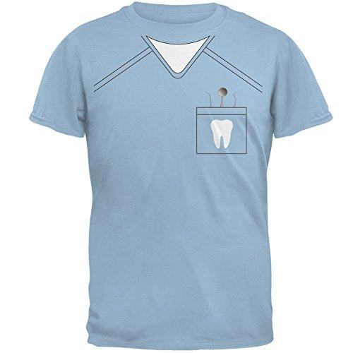 [Halloween Dentist Scrubs Costume Light Blue Adult T-Shirt - Medium] (Scary Dentist Costume)