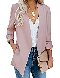 82b0e87d011 Womens Casual Blazer Ruched 3/4 Sleeve Open Front Relax Fit Office  Lightweight Cardigan Jacket