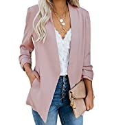 Ofenbuy Womens Casual Blazer Ruched 3/4 Sleeve Open Front Relax Fit Office Lightweight Cardigan J...