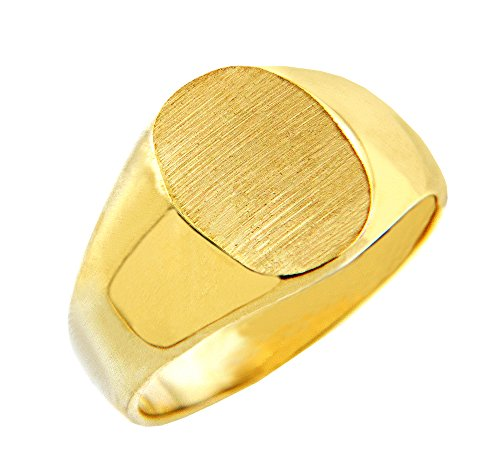 Solid 14k Yellow Gold Engravable Brushed Satin Oval Top Signet Ring for Men (Size 11)