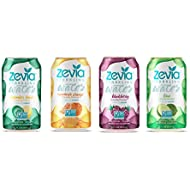 Zevia Zero Calorie Beverage, Lightly Sweetened Sparkling Water Variety Pack, (24) 12 Ounce Cans; Naturally Flavored and a Little Bit Sweet; Clean, Delicious, and Refreshing with No Sugar