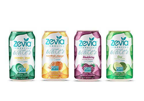 Zevia Zero Calorie Beverage, Lightly Sweetened Sparkling Water Variety Pack, (24) 12 Ounce Cans; Naturally Flavored and a Little Bit Sweet;Clean, Delicious, and Refreshing with No Sugar