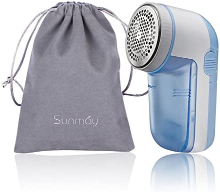 SUNMAY Fabric Shaver Lint Remover with Distance Ring Bobble Remover Battery Operated with Travel Carrying Pouch