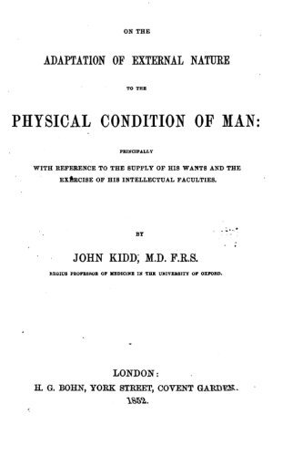 Download On the Adaptation of External Nature to the Physical Condition of Man PDF