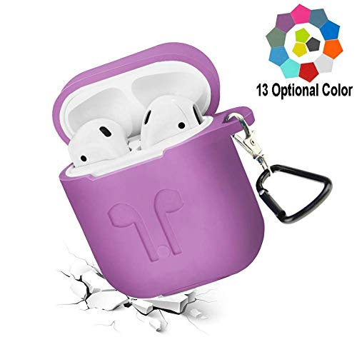 Budesi Case Cover Compatiable with Airpods Case,Shockproof Drop Proof Protective Silicone Skin Case Cover Waterproof Shock Resistant Case with Keychain for Apple AirPods