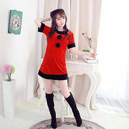Yunfeng Women Santa Claus Costume Christmas Costume Performance Clothes Little Red Riding Hood Halloween Costumes Fancy Dress Adult Christmas Party Cosplay Costume