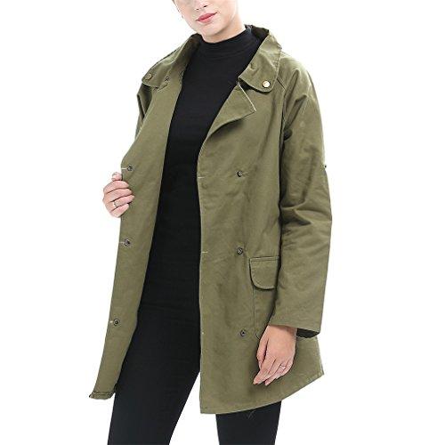 Coat Redondo Largo Outwear Slim Mujer Largas Mangas Cuello E Otoño Chaqueta Honghu Casual Verde Abrigos Invierno 6qwOq7Pv
