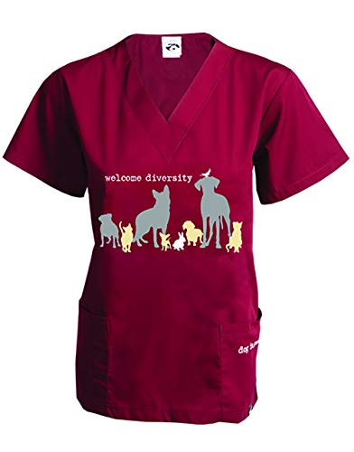 Dog is Good Welcome Diversity Unisex Scrub Top (Wine, Large)