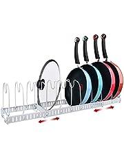 X-cosrack Bakeware Organizer Pot Pan Lid Rack, 11 Dividers, Adjustable, Patent Pending. White