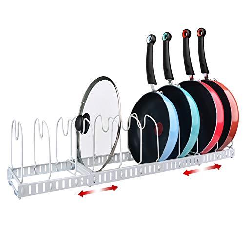 X-cosrack 11 Dividers Pot Pan Lid Rack Bakeware Cupboard Organizer, Expandable, Patent Pending. White