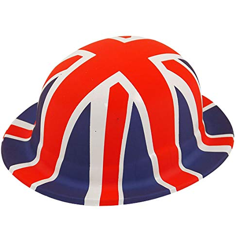 Rimi Hanger Adults St George Union Jack Plastic Bowler Hat Kids British Royal Day Accessory Adult Size]()