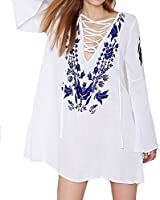 TangB Women's Embroideried Beach Swimsuit Cover Up One Size Fits XS to M