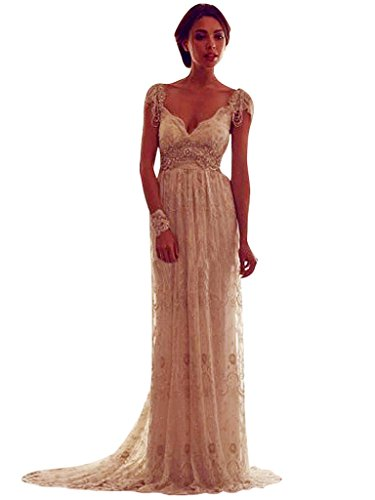 ca142818be5 VERNASSA Elegant V-neck Backless Lace Wedding Dresses with Cap Sleeves